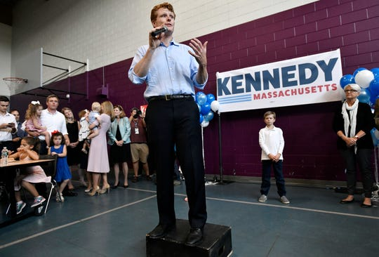 U.S. Rep. Joseph Kennedy III announces his candidacy for the Senate on Saturday, Sept. 21, 2019, in Boston. Kennedy will challenge incumbent Sen. Ed Markey in the Democratic primary.