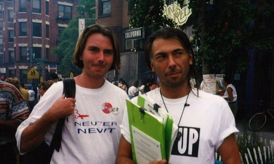 Steve Michael, right, with his partner Wayne Turner, in 1997.