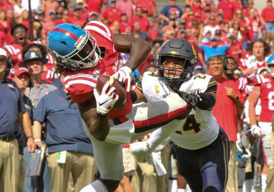 Ole Miss wide receiver Demarcus Gregory catches a pass against Cal.
