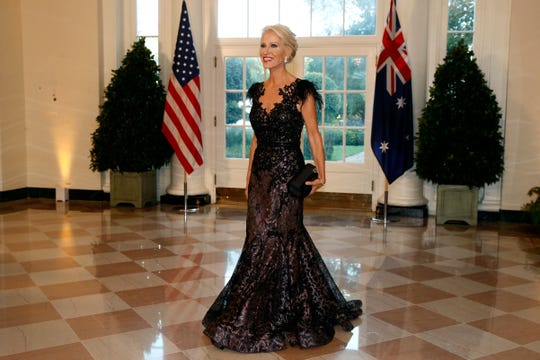 Presidential adviser Kellyanne Conway arrives for a State Dinner with Australian Prime Minister Scott Morrison and President Donald Trump at the White House, Friday, Sept. 20, 2019.