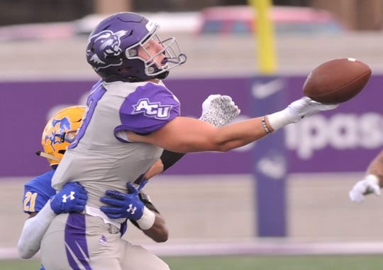 ACU receiver Paxton Bergdoll can't come up with a pass while McNeese's Andre Sam defends. The Wildcats played McNeese in a Southland Conference game Saturday. Sept. 21, 2019. at Wildcat Stadium.