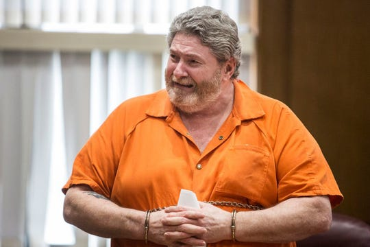 Charles Pickett Jr. of Battle Creek cries during his sentencing June 11, 2018, in Kalamazoo.