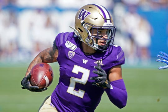 Washington wide receiver Aaron Fuller (2) runs the ball in the first half, during a game against BYU in an NCAA college football game, Saturday, Sept. 21, 2019, in Provo, Utah.