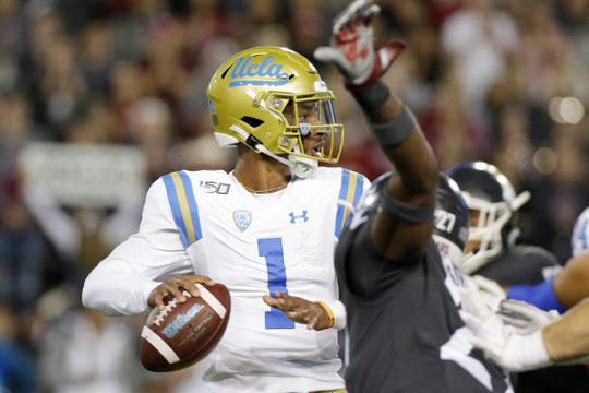 UCLA quarterback Dorian Thompson-Robinson (1) prepares to pass the ball during the first half of an NCAA college football game against Washington State in Pullman, Wash., Saturday, Sept. 21, 2019.