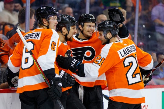 Carsen Twarynski, center right, scored in the second period Saturday night against the New York Rangers.