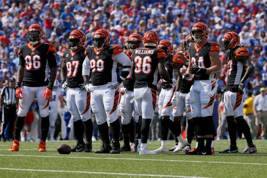 The Cincinnati Bengals defense awaits a play in the first quarter of the NFL Week 3 game between the Buffalo Bills and the Cincinnati Bengals at New Era Stadium in Buffalo, N.Y., on Sunday, Sept. 22, 2019. The Bills led 14-0 at halftime.