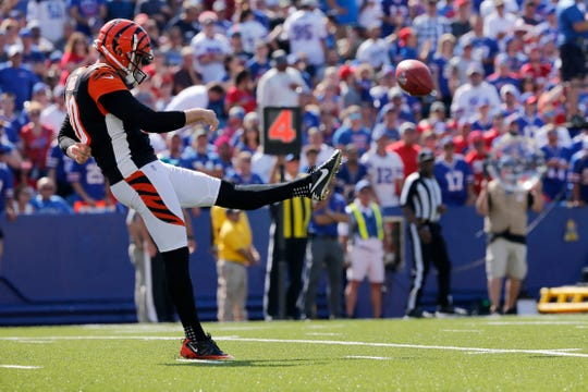 Cincinnati Bengals punter Kevin Huber (10) kicks the ball away on fourth down in the second quarter of the NFL Week 3 game between the Buffalo Bills and the Cincinnati Bengals at New Era Stadium in Buffalo, N.Y., on Sunday, Sept. 22, 2019. The Bills led 14-0 at halftime.