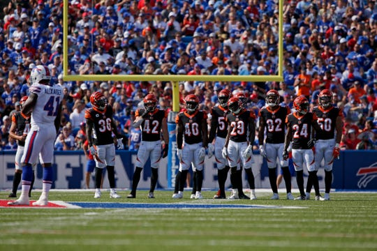 The Bengals kickoff team lines up after a Bengals touchdown in the third quarter of the NFL Week 3 game between the Buffalo Bills and the Cincinnati Bengals at New Era Stadium in Buffalo, N.Y., on Sunday, Sept. 22, 2019. The Bengals remain winless after a late interception ended a Bengals drive and sealed the win for Buffalo.