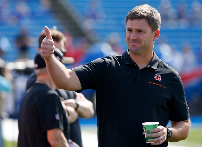 Cincinnati Bengals head coach Zac Taylor gives a thumbs up to Bengals fans during warmups before kickoff of the NFL Week 3 game between the Buffalo Bills and the Cincinnati Bengals at New Era Stadium in Buffalo, N.Y., on Sunday, Sept. 22, 2019.