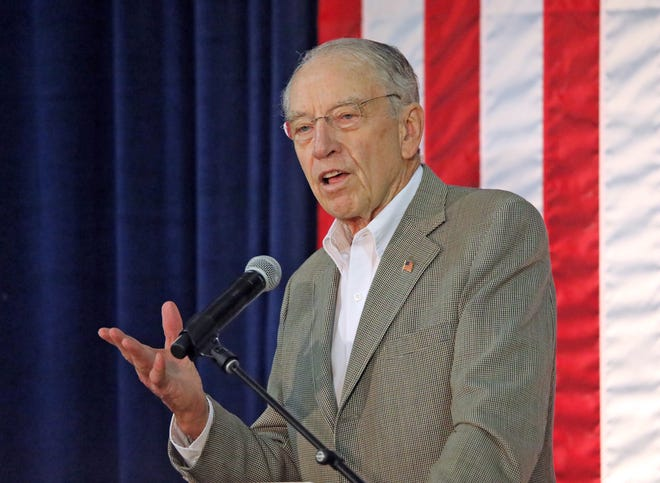 U.S. Sen. Chuck Grassley adresses the crowd during the third annual Harvest Festival Fundraiser for Iowa Gov.Kim Reynolds and her campaign committee. The event was held at the Iowa State Fairgrounds in Des Moines on Saturday, Sept. 21, 2019.