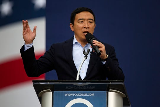 Businessman and 2020 presidential candidate Andrew Yang speaks at the Polk County Steak Fry in Iowa on Sept. 21, 2019.