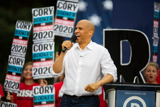 U.S. Sen. Cory Booker, D-New Jersey, speaks at the Polk County Steak Fry on Sept. 21, 2019 at Water Works Park.