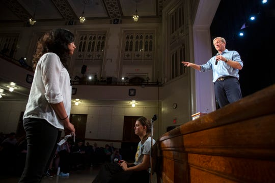 2020 presidential candidate Tom Steyer speaks on Sept. 22, 2019 at Roosevelt High School in Des Moines.
