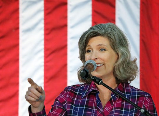 US Senator Joni Ernst adresses the crowd during the third annual Harvest Festival Fundraiser for Iowa Governor Kim Reynolds and her campaign committee featuring guest speaker Karen Pence, wife of Vice President Mike Pence, at the Elwell Family Food Center at the Iowa State Fairgrounds in Des Moines on Saturday, September 21, 2019. The family event features BBQ food, pumpkin decorating, face painting and more.