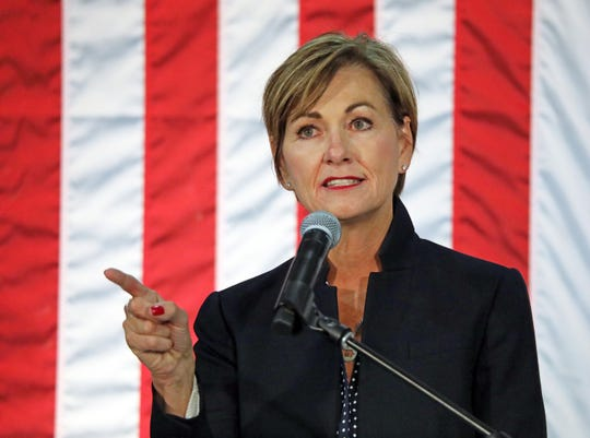 Iowa Governor Kim Reynolds addresses the crowd attending the third annual Harvest Festival Fundraiser for Iowa Governor Kim Reynolds and her campaign committee featuring guest speaker Karen Pence, wife of Vice President Mike Pence, at the Elwell Family Food Center at the Iowa State Fairgrounds in Des Moines on Saturday, September 21, 2019. The family event features BBQ food, pumpkin decorating, face painting and more.
