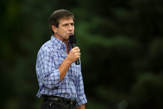 2020 presidential candidate Joe Sestak speaks at the Polk County Steak Fry on Sept. 21, 2019 at Water Works Park.
