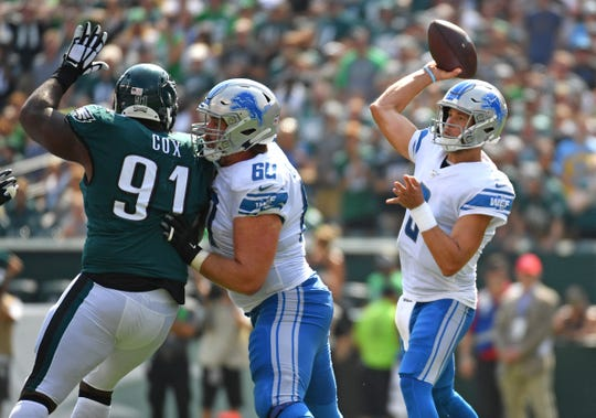 Lions quarterback Matthew Stafford throws a pass during the second quarter on Sunday, Sept. 22, 2019, in Philadelphia.
