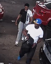 Detroit police say male carrying book bag is suspect in shooting on east side at gas station on 1200 block of East 7 Mile Road. The other male is a person of interest.