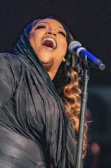 Tasha Page-Lockhart performs at the Motown 60 Gospel Concert at Triumph Church in Detroit on Saturday, Sept. 21, 2019.