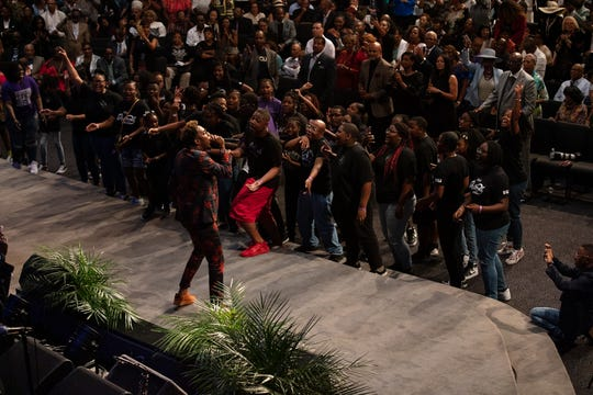 Deitrick Haddon performs as the Detroit Youth Choir joins him at the Motown 60 Gospel Concert at Triumph Church in Detroit on Saturday, Sept. 21, 2019.