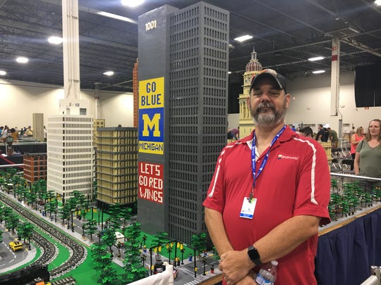 Chris Leach is the co-founder of MichLUGS. He brought his display of the 1001 Woodward Building to the Brickworld Michigan expo Sunday, Sept. 22, 2019.