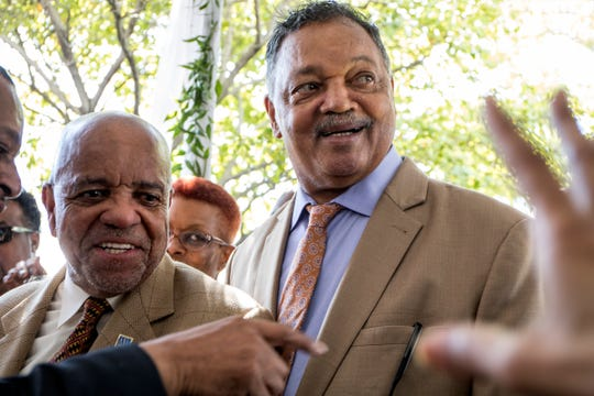 Berry Gordy Jr. and Rev. Jesse Jackson chat with participants at the groundbreaking ceremony of the new Hitsville Next center in Detroit, Mich., Sunday, Sept. 22, 2019.