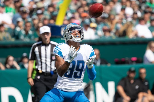 Lions cornerback Jamal Agnew catches the ball before running back a 100-yard touchdown return during the first quarter on Sunday, Sept. 22, 2019, in Philadelphia.