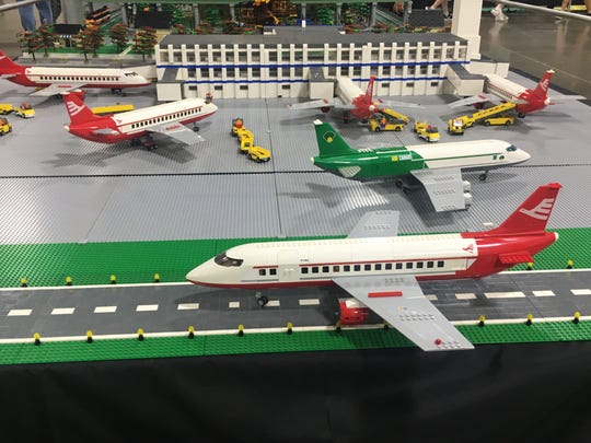 MichLUGS co-founder Chris Leach built a replica of the McNamara Terminal at Detroit Metro Airport. The display was shown at the Brickworld Michigan expo Sunday, Sept. 22, 2019.