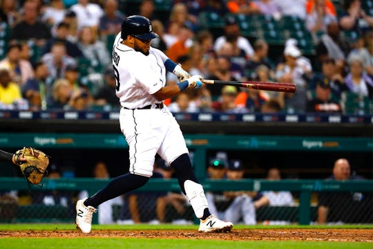 Tigers second baseman Dawel Lugo hits a single in the fourth inning on Saturday, Sept. 21, 2019, at Comerica Park.