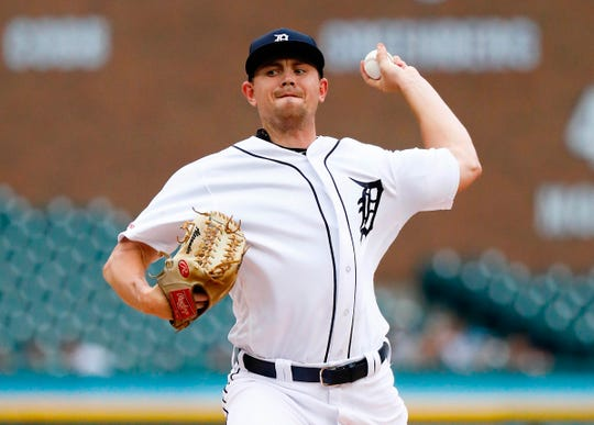 Tigers pitcher Tyler Alexander pitches in the first inning on Saturday, Sept. 21, 2019, at Comerica Park.