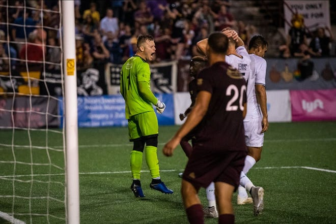 Detroit City FC goalkeeper Nate Steinwascher made several key saves in Le Rouge's 1-1 draw with the New York Cosmos on Saturday at Keyworth Stadium.