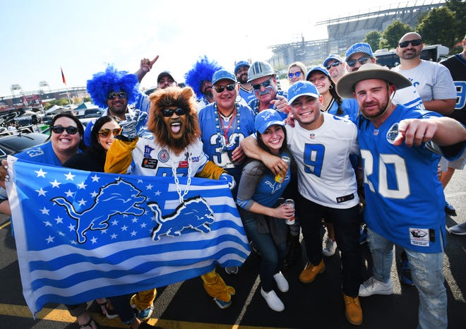 A large group of Lions fans gather outside Lincoln Financial Field for the game against the Eagles in Philadelphia, Pennsylvania on September 22, 2019.