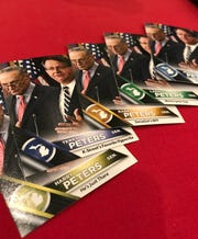 "The National Republican Senate Committee distributed ""Jerry Peters"" baseball cards during the Mackinac Republican Leadership Conference, part of a continuing riff on U.S. Sen. Gary Peters' reportedly low name recognition."