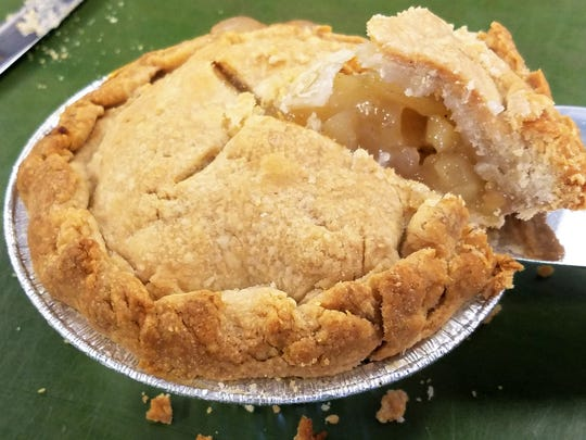 A finished St. Peter's apple pie, with the lightest homemade crust imaginable.