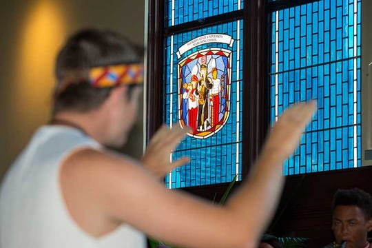A one-of-a-kind, three-dimensional stained-glass window honoring the Marching Chiefs was dedicated at a ceremony Friday, Sept. 20.