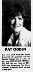 """Pat Ogden was a """"Graduate Home Economist"""" who would preside over the  Cooking Schools."""