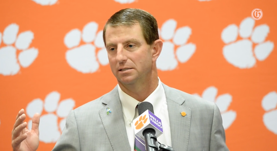 Clemson football coach Dabo Swinney during post game presser after the Tiger defeated Charlotte on Saturday, Sept. 21, 2019.