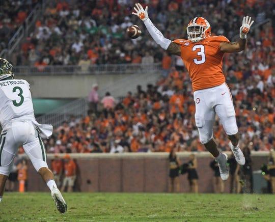 Clemson defensive lineman Xavier Thomas (3) pressures Charlotte quarterback Chris Reynolds(3) during the first quarter at Memorial Stadium in Clemson, South Carolina Saturday, September 21, 2019.