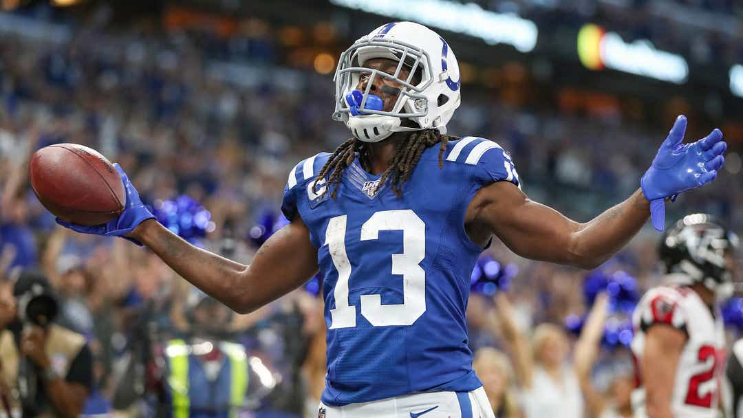 Indianapolis Colts wide receiver T.Y. Hilton (13) celebrates a touchdown in the first half of their game at Lucas Oil Stadium in Indianapolis, Sunday, Sept. 22, 2019.