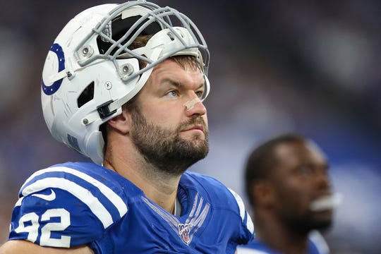 Indianapolis Colts defensive end Margus Hunt (92) in the first half of their game at Lucas Oil Stadium in Indianapolis, Sunday, Sept. 22, 2019.