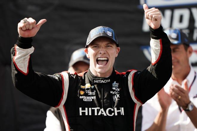 Sep 22, 2019; Salinas, CA, USA; IndyCar driver Josef Newgarden (2) celebrates after winning the NTT Indycar Series Championship during the WeatherTech Raceway Laguna Seca.