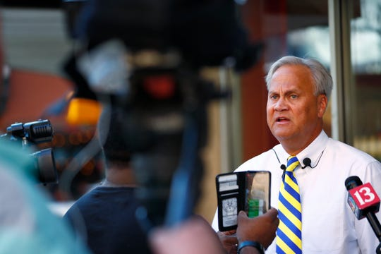 Mayoral candidate Jim Merritt speaks to the media at the corner of Maryland and Illinois Streets, Sunday, Sept. 22, 2019, in response to the incident where six people were shot the night before near this intersection.
