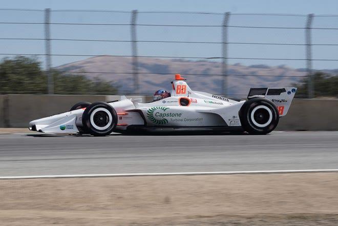 Sep 22, 2019; Salinas, CA, USA; IndyCar driver Colton Herta (88) enters through the corkscrew portion of the track during the WeatherTech Raceway Laguna Seca.