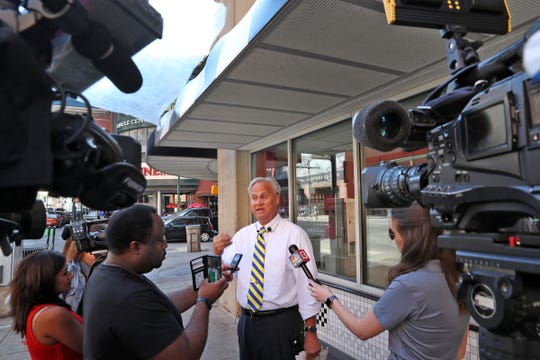 Mayoral candidate Jim Merritt speaks to the press at the corner of Maryland and Illinois Streets, Sunday, Sept. 22, 2019, in response to the incident where six people were shot near this intersection Saturday night.