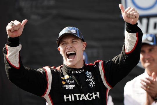 IndyCar driver Josef Newgarden (2) celebrated on Sept. 22, 2019  after winning the NTT Indycar Series Championship.