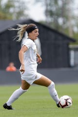 Purdue midfielder Ena Sabanagic (10) dribbles during the second half of a NCAA women's soccer match, Sunday, Sept. 22, 2019 at Folk Field in West Lafayette. Purdue won, 1-0.
