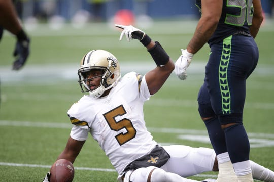 New Orleans Saints quarterback Teddy Bridgewater in action against the Seattle Seahawks during the second half of an NFL football game, Sunday, Sept. 22, 2019, in Seattle. (AP Photo/Scott Eklund)