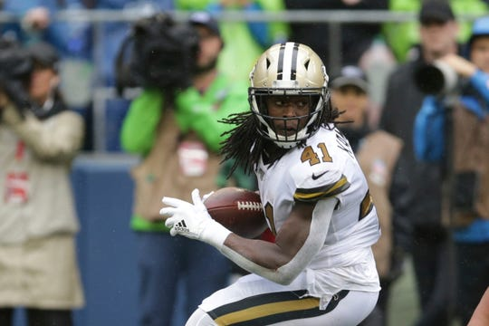 New Orleans Saints' Alvin Kamara in action against the Seattle Seahawks during the second half of an NFL football game, Sunday, Sept. 22, 2019, in Seattle. (AP Photo/Scott Eklund)