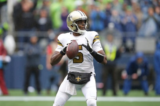 New Orleans Saints quarterback Teddy Bridgewater in action against the Seattle Seahawks during the first half of an NFL football game, Sunday, Sept. 22, 2019, in Seattle. (AP Photo/Scott Eklund)