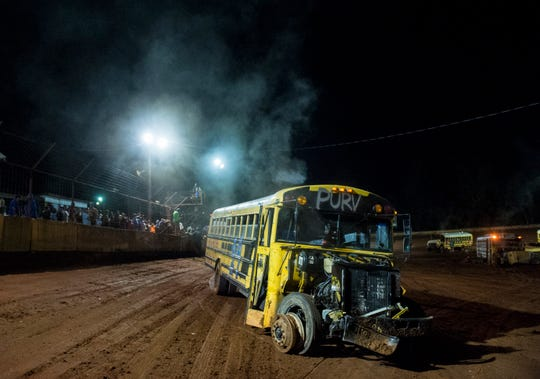 The winner Adam Purvis' bus after the school bus races at Flomaton Speedway in Flomaton, Ala., on Saturday, Aug. 24, 2019. While its not a traditional race the winner is decided by the last bus running.